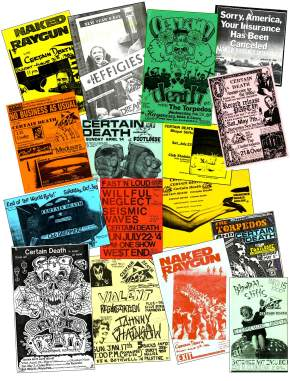 CERTAIN DEATH posters 1985-1988. Associated bands of the time: The Effigies, Naked Raygun, Screeching Weasel, The Bhopal Stiffs, The Torpedos, Willful Neglect, others...