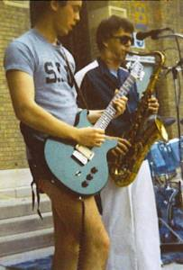 Danny Imig and saxophonist Kevin Cox in the band RIFF RAFF, 1981, on the front stairs of Southern Illinois University at Carbondale's famous Shryock Auditorium. Photo by Dawn Underwood.