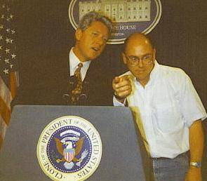 Bill and Danny (1997) working the press corps.Photo by Phil Broxham